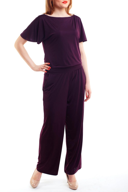 БлузкаБлузки<br>Элегантная блуза свободного прилегания и комфортного полотна с цельнокроеным клешенным коротким рукавом и вырезом горловины-лодочка. Низ изделия на манжете.   Цвет: фиолетовый.<br><br>Горловина: Лодочка<br>По рисунку: Однотонные<br>По сезону: Весна,Всесезон,Зима,Лето,Осень<br>По силуэту: Полуприталенные<br>Рукав: Короткий рукав<br>По материалу: Трикотаж<br>По стилю: Повседневный стиль<br>Размер : 44-46<br>Материал: Холодное масло<br>Количество в наличии: 1