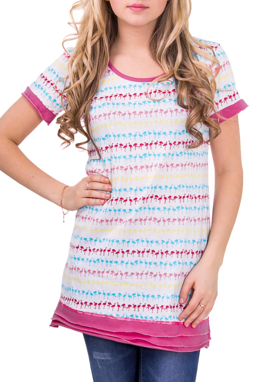 ТуникаТуники<br>Домашняя туника с круглой горловиной и коротким рукавом. Домашняя одежда, прежде всего, должна быть удобной, практичной и красивой. В тунике Вы будете чувствовать себя комфортно, особенно, по вечерам после трудового дня.  Цвет: белый с розовым  Рост девушки-фотомодели 164 см<br><br>Горловина: С- горловина<br>По длине: Удлиненные<br>По рисунку: Цветные,В полоску,С принтом<br>По сезону: Весна,Осень<br>По силуэту: Свободные<br>Рукав: Короткий рукав<br>По элементам: С декором<br>По материалу: Хлопок<br>Размер : 46<br>Материал: Хлопок<br>Количество в наличии: 1