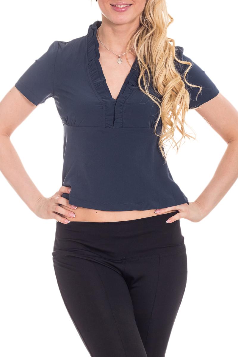 БлузкаБлузки<br>Чудесная женская блузка приталенного силуэта с короткими рукавами.  Цвет: серо-синий (чернильный).  Рост девушки-фотомодели 170 см<br><br>Горловина: V- горловина<br>По материалу: Блузочная ткань<br>По рисунку: Однотонные<br>По сезону: Весна,Зима,Лето,Осень,Всесезон<br>По силуэту: Приталенные<br>По стилю: Повседневный стиль<br>По элементам: С воланами и рюшами,С вырезом,С декором,Со складками<br>Рукав: Короткий рукав<br>Размер : 44,46,48,50<br>Материал: Блузочная ткань<br>Количество в наличии: 7