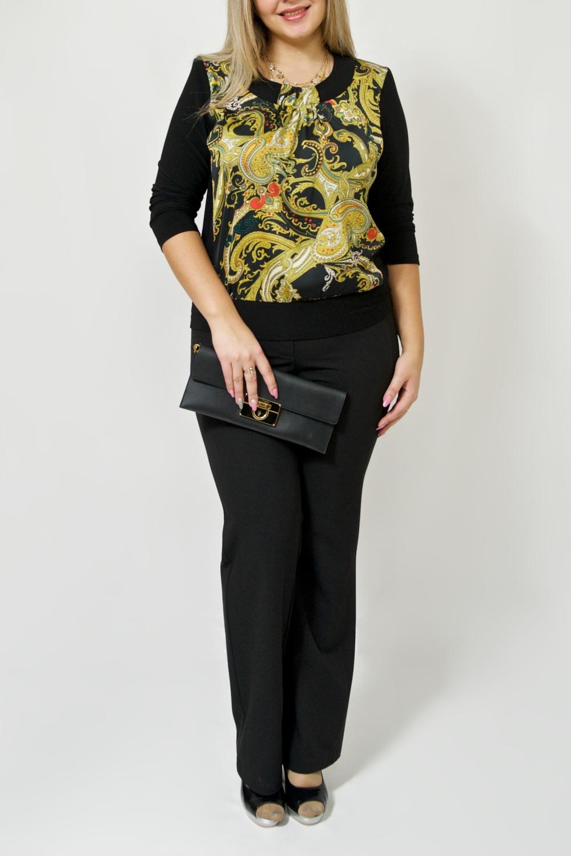 БлузкаБлузки<br>Эта чудесная женская блузка из приятного к телу трикотажа станет основой Вашего гардероба.  В изделии использованы цвета: черный, желтый.  Ростовка изделия 170 см.<br><br>Горловина: С- горловина<br>По материалу: Трикотаж<br>По рисунку: Растительные мотивы,С принтом,Цветные,Этнические<br>По сезону: Весна,Зима,Осень,Всесезон<br>По силуэту: Полуприталенные<br>По стилю: Повседневный стиль<br>Рукав: Рукав три четверти<br>Размер : 48-50,52-56,64-68<br>Материал: Холодное масло + Атлас<br>Количество в наличии: 5