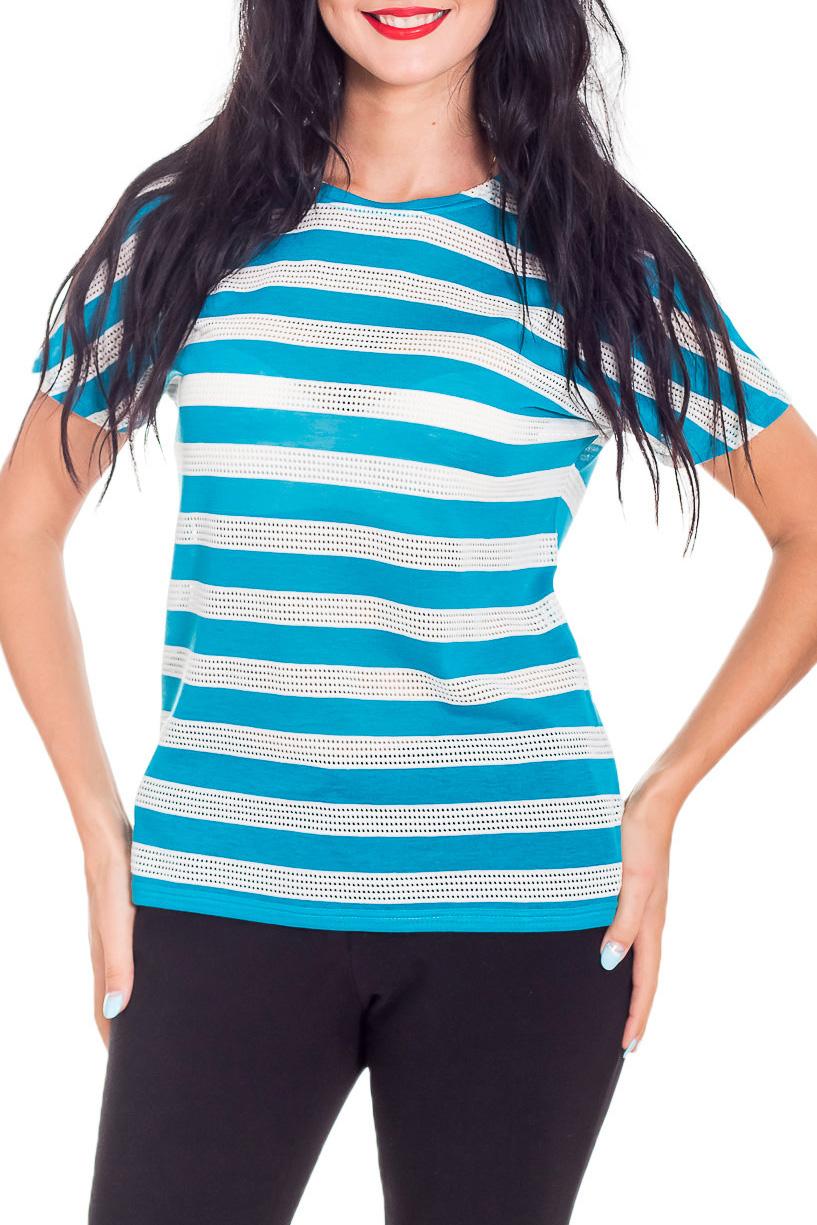 ДжемперБлузки<br>Цветной джемпер с короткими рукавами. Модель выполнена из мягкой вискозы. Отличный выбор для повседневного гардероба.  В изделии использованы цвета: белый, голубой  Параметры размеров: 42 размер - обхват груди 82-85 см., обхват талии 66-69 см., обхват бедер 92-95 см. 44 размер - обхват груди 86-89 см., обхват талии 70-73 см., обхват бедер 96-98 см. 46 размер - обхват груди 90-93 см., обхват талии 74-77 см., обхват бедер 99-101 см. 48 размер - обхват груди 94-97 см., обхват талии 78-81 см., обхват бедер 102-104 см. 50 размер - обхват груди 98-101 см., обхват талии 82-85 см., обхват бедер 105-107 см.  Рост девушки-фотомодели 173 см.<br><br>Горловина: С- горловина<br>По материалу: Вискоза,Трикотаж<br>По рисунку: В полоску,С принтом,Цветные<br>По сезону: Весна,Зима,Лето,Осень,Всесезон<br>По силуэту: Прямые<br>По стилю: Повседневный стиль,Летний стиль<br>Рукав: Короткий рукав<br>Размер : 42,46,50<br>Материал: Вискоза<br>Количество в наличии: 3