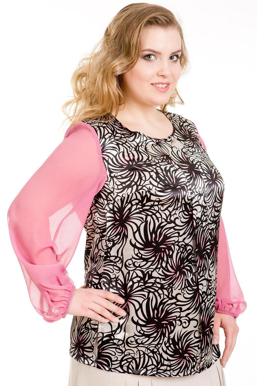 БлузкаБлузки<br>Нарядная блузка прямого силуэта из воздушного шифона и гладкого атласа. Рукав втачной длинный. Вырез горловины округлый.   В изделии использованы цвета: розовый и др.  Ростовка изделия 164 см.<br><br>Горловина: С- горловина<br>По материалу: Атлас,Шифон<br>По рисунку: С принтом,Цветные<br>По сезону: Весна,Зима,Лето,Осень,Всесезон<br>По силуэту: Полуприталенные<br>По стилю: Нарядный стиль,Повседневный стиль<br>По элементам: С манжетами<br>Рукав: Длинный рукав<br>Размер : 50,52,54,56,58<br>Материал: Атлас + Шифон<br>Количество в наличии: 16