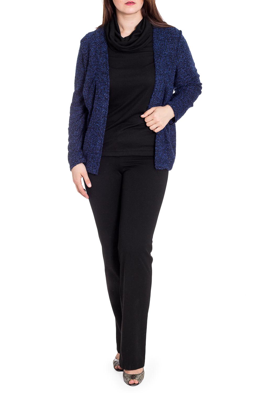 БлузкаКофты<br>Интересная блузка с имитацией кардигана. Модель выполнена из приятного трикотажа. Отличный выбор для повседневного гардероба.  В изделии использованы цвета: синий, черный  Рост девушки-фотомодели 180 см<br><br>Воротник: Хомут<br>По длине: Средней длины<br>По материалу: Трикотаж<br>По рисунку: Цветные<br>По сезону: Осень,Зима<br>По силуэту: Полуприталенные<br>По стилю: Повседневный стиль<br>Рукав: Длинный рукав<br>Размер : 60,62,66<br>Материал: Трикотаж<br>Количество в наличии: 3