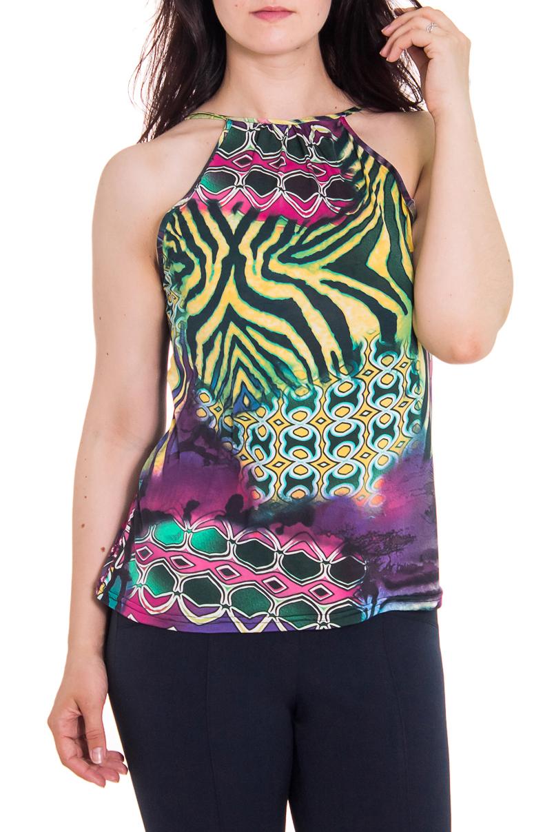 БлузкаБлузки<br>Женская блузка с горловиной халтер. Модель выполнена из приятного трикотажа. Отличный выбор для повседневного гардероба.  Цвет: зеленый, фиолетовый  Рост девушки-фотомодели - 180 см<br><br>Горловина: С- горловина<br>По рисунку: Абстракция,Цветные,С принтом<br>По сезону: Весна,Всесезон,Зима,Лето,Осень<br>По силуэту: Полуприталенные<br>По элементам: С открытыми плечами<br>По материалу: Трикотаж<br>По стилю: Летний стиль,Повседневный стиль<br>Рукав: Без рукавов<br>Размер : 46-48<br>Материал: Холодное масло<br>Количество в наличии: 2
