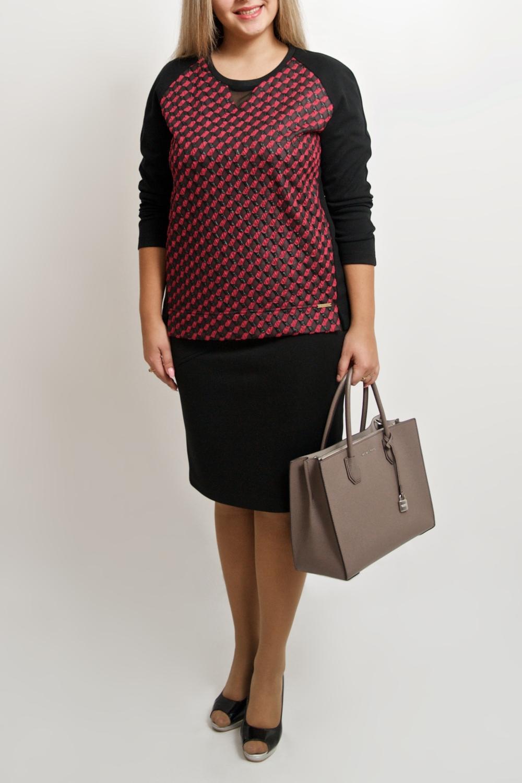 ДжемперДжемперы<br>Прелестный женский джемпер станет идеальным вариантом повседневного или выходного наряда. Изумительно садясь по фигуре, это платье маскирует ее проблемные зоны.  В изделии использованы цвета: черный, малиновый.  Ростовка изделия 170 см.<br><br>Горловина: С- горловина<br>По материалу: Трикотаж<br>По рисунку: С принтом,Цветные<br>По силуэту: Прямые<br>По стилю: Повседневный стиль<br>По элементам: С декором<br>Рукав: Длинный рукав<br>По сезону: Осень,Весна<br>Размер : 46-48,50-52,54-56,58-60,62-64<br>Материал: Трикотаж<br>Количество в наличии: 8