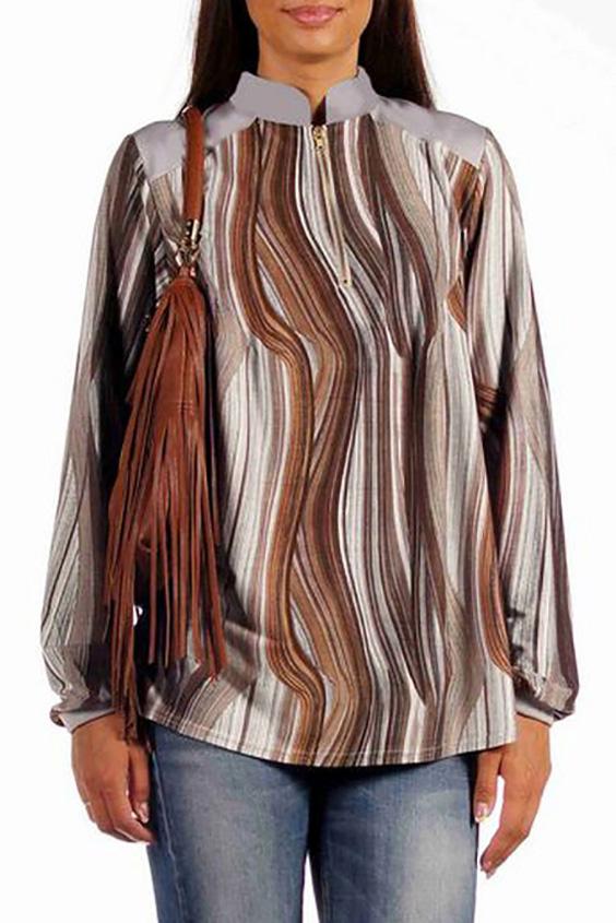 БлузкаБлузки<br>Повседневная удлиненная блуза спортивного стиля из тонкого и очень нежного трикотажа-замши. Перед с наклонными плечевыми кокетками, выполненными из отделочного плотного трикотажа. По центру переда застежка на металлическую тесьму-молнию длиной 20 см. Спинка с кокеткой из отделки. Нижняя деталь спинки с широкой встречной складкой, идущей от кокетки. Горловина с воротником-стойкой с закругленными концами. Рукав длинный на узкой манжете.  Длина изделия: около  63 см.  В изделии использованы цвета: серый, коричневый  Ростовка изделия 170 см.<br><br>Воротник: Стойка<br>Застежка: С молнией<br>По материалу: Трикотаж<br>По образу: Город,Свидание<br>По рисунку: В полоску,С принтом,Цветные<br>По сезону: Весна,Зима,Лето,Осень,Всесезон<br>По силуэту: Прямые<br>По стилю: Повседневный стиль<br>По элементам: С манжетами,С отделочной фурнитурой<br>Рукав: Длинный рукав<br>Размер : 52,54,56<br>Материал: Трикотаж<br>Количество в наличии: 3