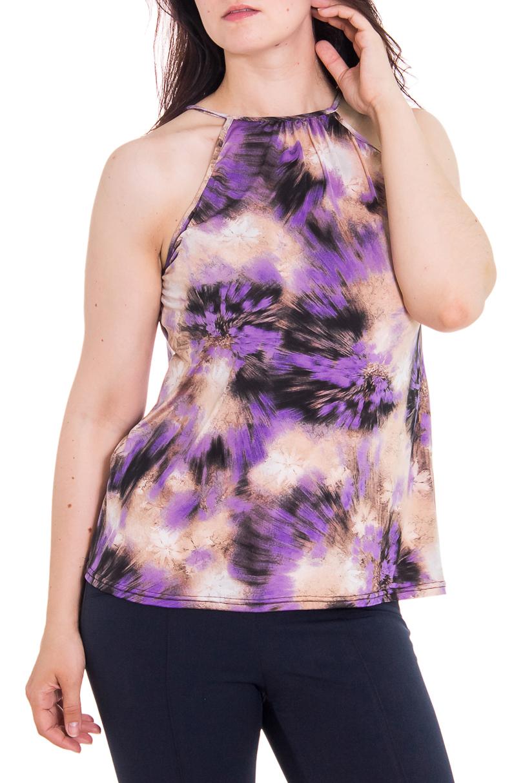 БлузкаБлузки<br>Женская блузка с горловиной халтер. Модель выполнена из приятного трикотажа. Отличный выбор для повседневного гардероба.  Цвет: розовый, фиолетовый, черный  Рост девушки-фотомодели - 180 см<br><br>Горловина: С- горловина<br>По образу: Город,Свидание<br>По рисунку: Цветные,С принтом<br>По сезону: Весна,Всесезон,Зима,Лето,Осень<br>По силуэту: Полуприталенные<br>По элементам: С открытыми плечами<br>По материалу: Трикотаж<br>По стилю: Летний стиль,Повседневный стиль<br>Рукав: Без рукавов<br>Размер : 46-48<br>Материал: Холодное масло<br>Количество в наличии: 1