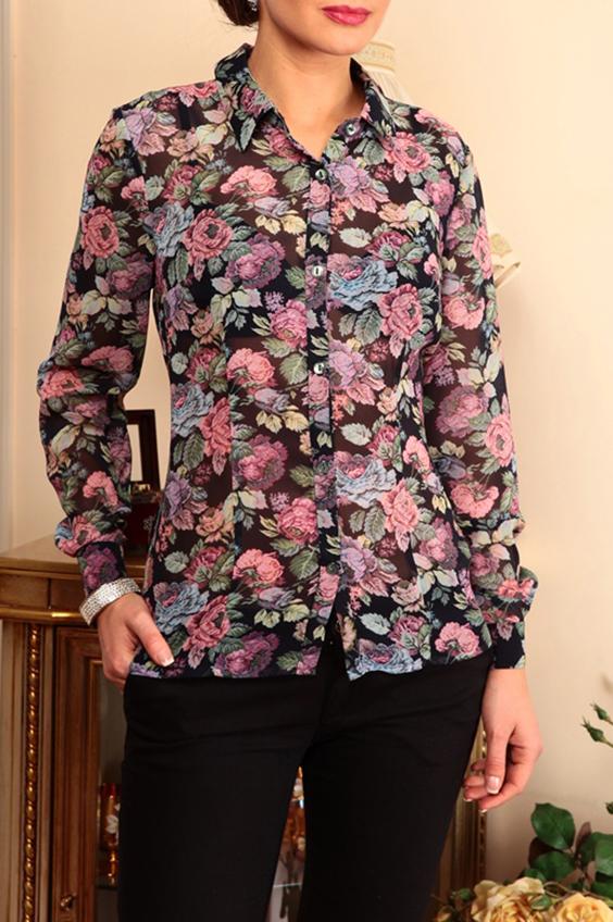 БлузкаБлузки<br>Нарядная блузка с длинными рукавами. Модель выполнена из воздушного шифона. Отличный выбор для любого случая.  В изделии использованы цвета: черный, розовый, зеленый и др.  Параметры (обхват груди; обхват талии; обхват бедер): 44 размер - 88; 66,4; 96 см 46 размер - 92; 70,6; 100 см 48 размер - 96; 74,2; 104 см 50 размер - 100; 90; 106 см 52 размер - 104; 94; 110 см 54-56 размер - 108-112; 98-102; 114-118 см 58-60 размер - 116-120; 106-110; 124-130 см  Ростовка изделия 170 см.<br><br>Воротник: Рубашечный<br>Застежка: С пуговицами<br>По материалу: Шифон<br>По образу: Город,Свидание<br>По рисунку: Растительные мотивы,С принтом,Цветные,Цветочные<br>По сезону: Весна,Зима,Лето,Осень,Всесезон<br>По силуэту: Приталенные<br>По стилю: Повседневный стиль<br>По элементам: С манжетами<br>Рукав: Длинный рукав<br>Размер : 50<br>Материал: Шифон<br>Количество в наличии: 1