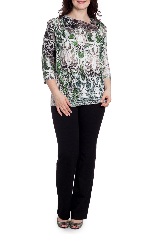 БлузкаБлузки<br>Цветная блузка с рукавами 3/4. Модель выполнена из приятного трикотажа. Отличный выбор для любого случая.  В изделии использованы цвета: коричневый, зеленый, бежевый и др.  Рост девушки-фотомодели 180 см<br><br>Горловина: Качель<br>По материалу: Вискоза<br>По рисунку: С принтом,Цветные<br>По сезону: Весна,Зима,Лето,Осень,Всесезон<br>По силуэту: Полуприталенные<br>По стилю: Повседневный стиль<br>Рукав: Рукав три четверти<br>Размер : 60,62,64,66<br>Материал: Вискоза<br>Количество в наличии: 4