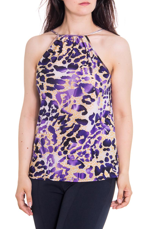БлузкаБлузки<br>Женская блузка с горловиной халтер. Модель выполнена из приятного трикотажа. Отличный выбор для повседневного гардероба.  Цвет: розовый, фиолетовый, черный  Рост девушки-фотомодели - 180 см<br><br>Горловина: С- горловина<br>По рисунку: Цветные,Леопард,С принтом<br>По сезону: Весна,Всесезон,Зима,Лето,Осень<br>По силуэту: Полуприталенные<br>По элементам: С открытыми плечами<br>По материалу: Трикотаж<br>По стилю: Летний стиль,Повседневный стиль<br>Рукав: Без рукавов<br>Размер : 46-48<br>Материал: Холодное масло<br>Количество в наличии: 2