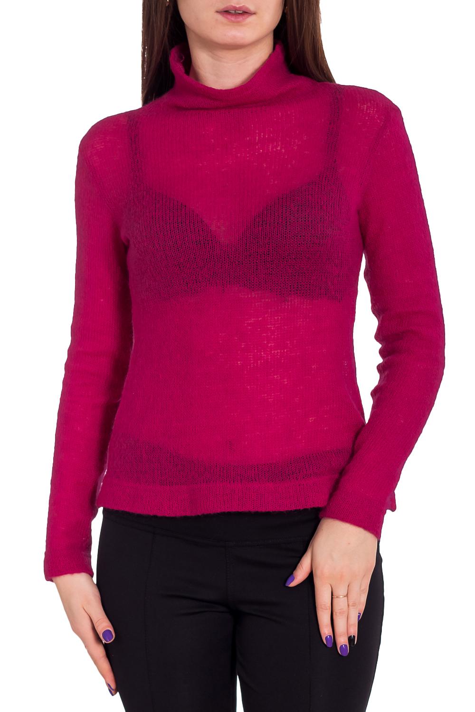 БлузаВодолазки<br>Однотонная блузка с длинными рукавами. Модель выполнена из приятного трикотажа. Отличный выбор для повседневного гардероба.  Цвет: вишневый  Рост девушки-фотомодели 173 см<br><br>Воротник: Стойка<br>По материалу: Вязаные,Трикотаж<br>По рисунку: Однотонные<br>По сезону: Весна,Осень,Зима<br>По силуэту: Полуприталенные<br>По стилю: Повседневный стиль<br>Рукав: Длинный рукав<br>Размер : 46<br>Материал: Вязаное полотно<br>Количество в наличии: 1