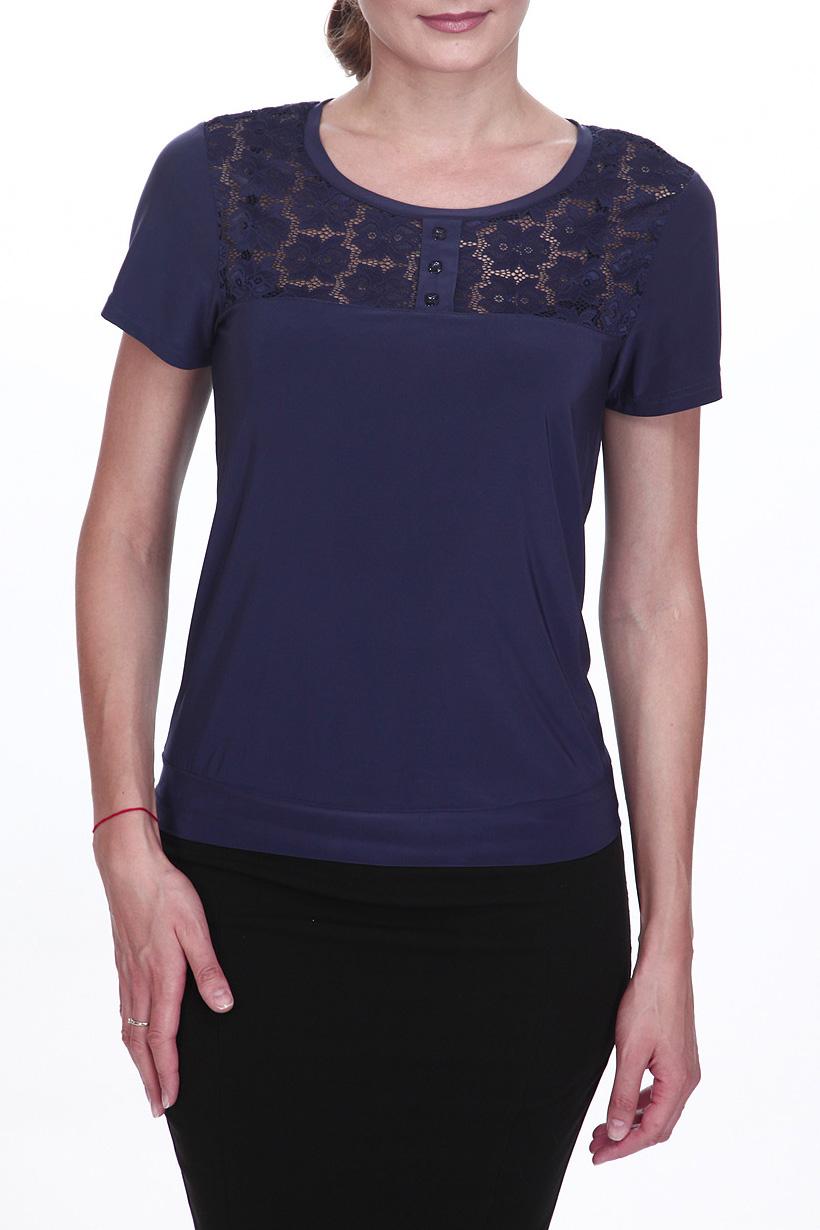 БлузкаБлузки<br>Однотонная блузка с круглой горловиной и короткими рукавами. Модель выполнена из приятного трикотажа. Отличный выбор для повседневного гардероба. Ростовка изделия 170 см.  Цвет: синий  Рост девушки-фотомодели 180 см<br><br>Горловина: С- горловина<br>По материалу: Вискоза,Гипюр<br>По образу: Город,Офис,Свидание<br>По сезону: Весна,Зима,Лето,Осень,Всесезон<br>По силуэту: Прямые<br>По стилю: Офисный стиль,Повседневный стиль<br>Рукав: Короткий рукав<br>Размер : 48,52,56<br>Материал: Вискоза + Гипюр<br>Количество в наличии: 3