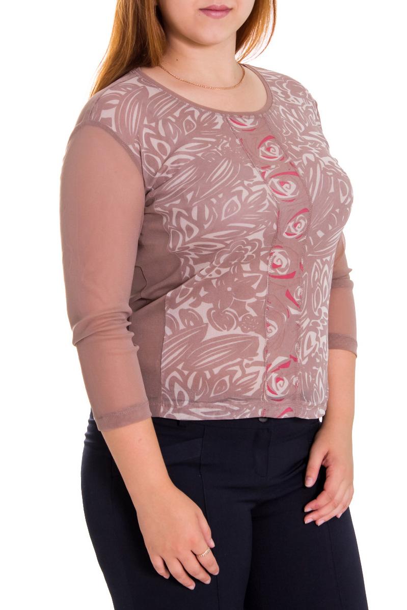 БлузкаБлузки<br>Красивая женская блузка с круглой горловиной и рукавами 3/4. Модель выполнена из  приятного материала.   Цвет: бежевый  Рост девушки-фотомодели 169 см.<br><br>Горловина: С- горловина<br>По материалу: Гипюровая сетка<br>По образу: Город,Свидание<br>По рисунку: Цветные,С принтом<br>По сезону: Весна,Всесезон,Зима,Лето,Осень<br>По силуэту: Полуприталенные<br>Рукав: Рукав три четверти<br>По стилю: Повседневный стиль<br>Размер : 48,50,52,54<br>Материал: Гипюровая сетка<br>Количество в наличии: 14