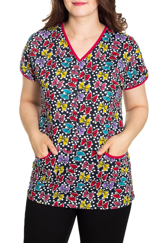 ДжемперТуники<br>Домашний джемпер с короткими рукавами Домашняя одежда, прежде всего, должна быть удобной, практичной и красивой. В джемпере Вы будете чувствовать себя комфортно, особенно, по вечерам после трудового дня.  Цвет: мультицвет  Рост девушки-фотомодели 180 см.<br><br>Горловина: V- горловина<br>По длине: Удлиненные<br>По рисунку: Цветные,С принтом<br>По сезону: Весна,Зима,Лето,Осень,Всесезон<br>По силуэту: Полуприталенные<br>По элементам: С карманами<br>Рукав: Короткий рукав<br>По материалу: Хлопок<br>Размер : 48<br>Материал: Хлопок<br>Количество в наличии: 1