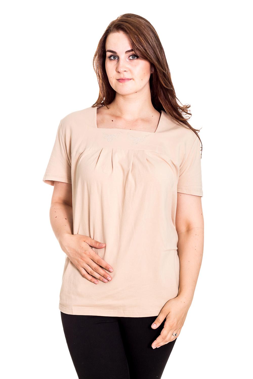 БлузкаБлузки<br>Однотонная блузка с квадратной горловиной и короткими рукавами. Модель выполнена из мягкой вискозы. Отличный выбор для повседневного гардероба.  Цвет: бежевый  Рост девушки-фотомодели 180 см<br><br>Горловина: Квадратная горловина<br>По материалу: Вискоза<br>По образу: Город,Свидание<br>По рисунку: Однотонные<br>По сезону: Весна,Зима,Лето,Осень,Всесезон<br>По силуэту: Полуприталенные<br>По стилю: Повседневный стиль<br>Рукав: Короткий рукав<br>Размер : 74<br>Материал: Вискоза<br>Количество в наличии: 3