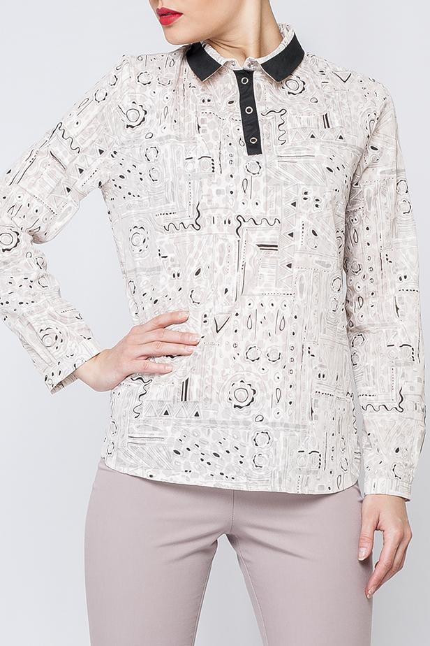 БлузкаБлузки<br>Цветная блузка прямого силуэта с длинными рукавами и контрастной отделкой. Отличный выбор для любого случая. Блузка без пояса.  Цвет: белый, бежевый, черный  Рост девушки-фотомодели 170 см<br><br>Воротник: Рубашечный<br>Застежка: С пуговицами<br>По материалу: Хлопок<br>По рисунку: С принтом,Цветные<br>По сезону: Весна,Зима,Лето,Осень,Всесезон<br>По силуэту: Прямые<br>По стилю: Повседневный стиль<br>Рукав: Рукав три четверти<br>Размер : 42<br>Материал: Хлопок<br>Количество в наличии: 1