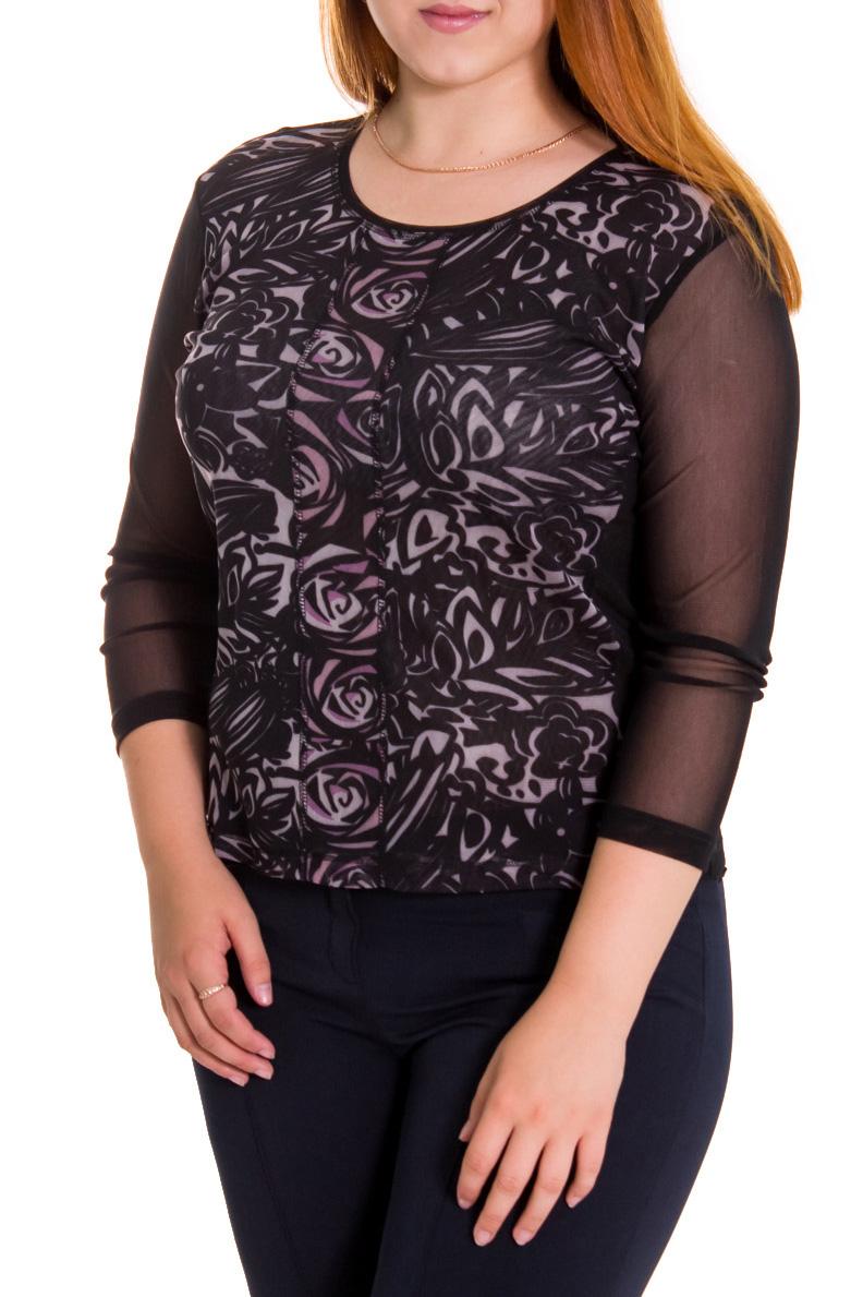 БлузкаБлузки<br>Красивая женская блузка с круглой горловиной и рукавами 3/4. Модель выполнена из  приятного материала.   Цвет: черный, розовый  Рост девушки-фотомодели 169 см.<br><br>Горловина: С- горловина<br>По материалу: Гипюровая сетка<br>По рисунку: Цветные,С принтом<br>По сезону: Весна,Всесезон,Зима,Лето,Осень<br>Рукав: Рукав три четверти<br>По стилю: Повседневный стиль<br>По силуэту: Приталенные<br>Размер : 48<br>Материал: Гипюровая сетка<br>Количество в наличии: 2