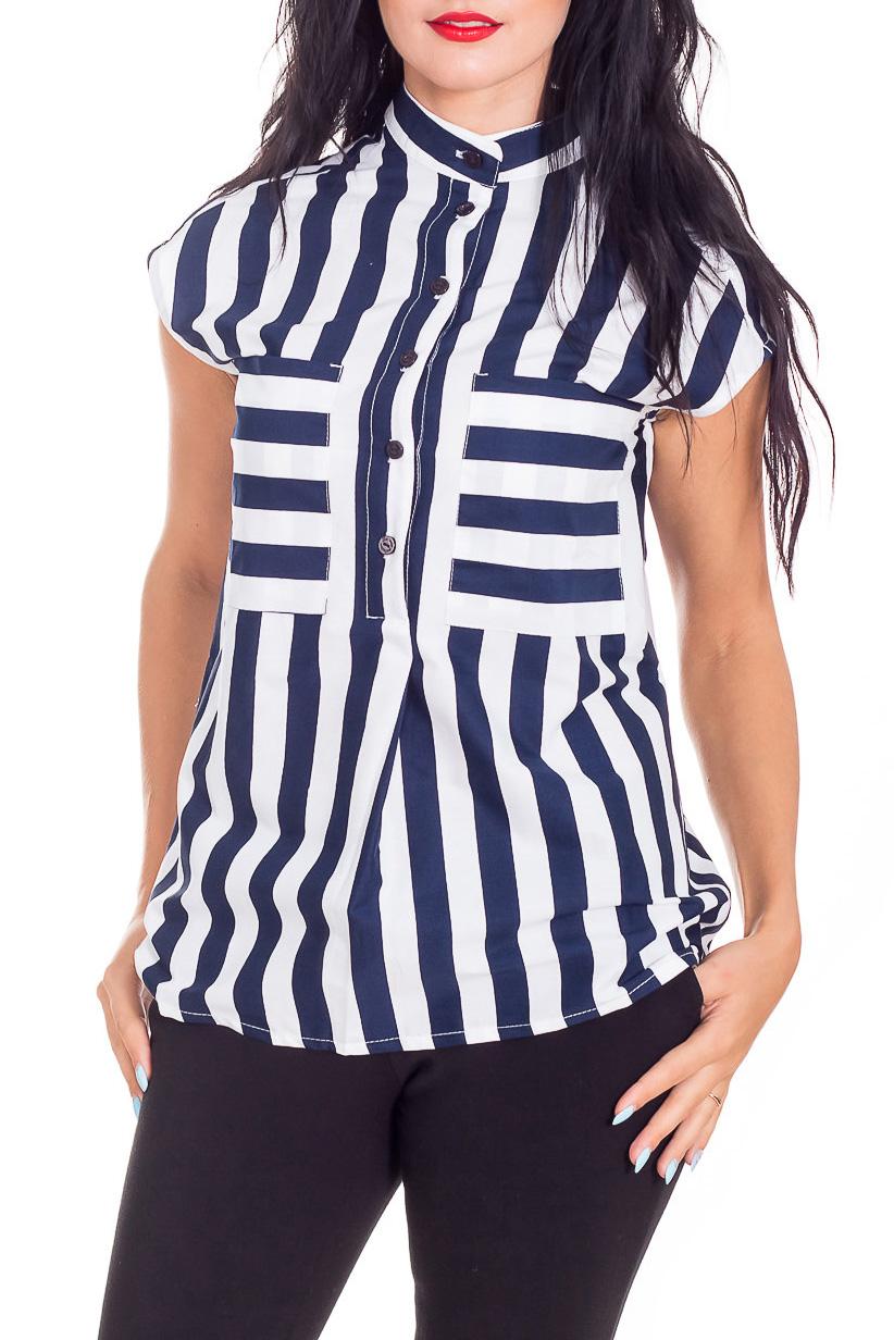 БлузкаБлузки<br>Чудесная блузка с короткими рукавами. Модель выполнена из хлопкового материала. Отличный выбор для любого случая.  В изделии использованы цвета: белый, синий  Параметры размеров: 42 размер - обхват груди 82-85 см., обхват талии 66-69 см., обхват бедер 92-95 см. 44 размер - обхват груди 86-89 см., обхват талии 70-73 см., обхват бедер 96-98 см. 46 размер - обхват груди 90-93 см., обхват талии 74-77 см., обхват бедер 99-101 см. 48 размер - обхват груди 94-97 см., обхват талии 78-81 см., обхват бедер 102-104 см. 50 размер - обхват груди 98-101 см., обхват талии 82-85 см., обхват бедер 105-107 см.  Рост девушки-фотомодели 173 см.<br><br>Воротник: Стойка<br>Застежка: С пуговицами<br>По материалу: Хлопок<br>По рисунку: В полоску,С принтом,Цветные<br>По сезону: Весна,Зима,Лето,Осень,Всесезон<br>По силуэту: Приталенные<br>По стилю: Повседневный стиль,Летний стиль<br>По элементам: С карманами<br>Рукав: Короткий рукав<br>Размер : 42,44,46<br>Материал: Хлопок<br>Количество в наличии: 3