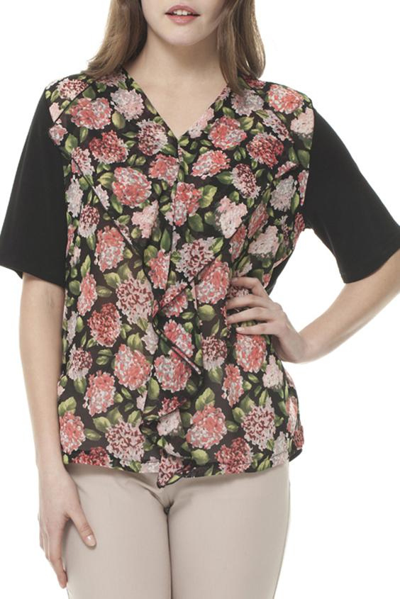 БлузкаБлузки<br>Цветная блузка с V-образной горловиной и короткими рукавами. Модель выполнена из приятного материала. Отличный выбор для любого случая.  Цвет: черный, коралловый, зеленый  Ростовка изделия 170 см.<br><br>Горловина: V- горловина<br>По материалу: Вискоза,Шифон<br>По рисунку: Растительные мотивы,С принтом,Цветные,Цветочные<br>По сезону: Весна,Зима,Лето,Осень,Всесезон<br>По силуэту: Свободные<br>По стилю: Повседневный стиль,Летний стиль<br>По элементам: С воланами и рюшами,С декором,С отделочной фурнитурой<br>Рукав: До локтя<br>Размер : 52-54,56-58<br>Материал: Вискоза + Шифон<br>Количество в наличии: 2