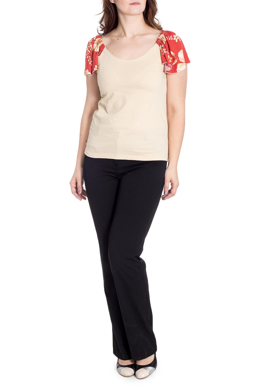 БлузкаБлузки<br>Чудесная блузка с короткими рукавами. Модель выполнена из приятного материала. Отличный выбор для повседневного гардероба.  В изделии использованы цвета: светло-бежевый, оранжевый и др.  Рост девушки-фотомодели 180 см.<br><br>Горловина: С- горловина<br>По материалу: Трикотаж,Хлопок<br>По образу: Город,Свидание<br>По рисунку: Растительные мотивы,С принтом,Цветные,Цветочные<br>По сезону: Весна,Зима,Лето,Осень,Всесезон<br>По силуэту: Полуприталенные<br>По стилю: Повседневный стиль<br>Рукав: Короткий рукав<br>Размер : 50,56,60-62,64-66,72<br>Материал: Трикотаж<br>Количество в наличии: 11