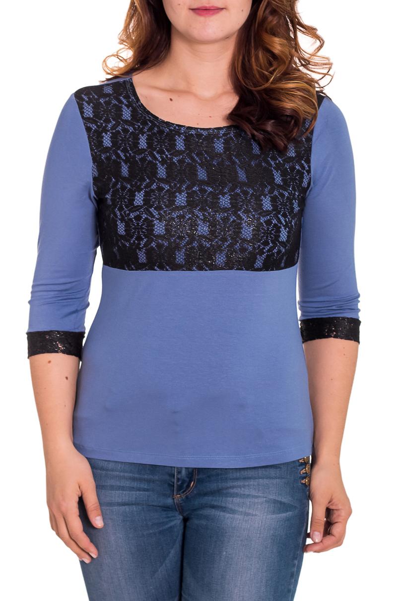 БлузкаБлузки<br>Прекрасная блузка со вставками из гипюра. Модель выполнена из мягкой вискозы. Отличный выбор для любого случая.  Цвет: синий, черный  Рост девушки-фотомодели 180 см.<br><br>Горловина: С- горловина<br>По материалу: Вискоза,Гипюр,Трикотаж<br>По рисунку: Цветные<br>По сезону: Весна,Всесезон,Зима,Лето,Осень<br>По силуэту: Приталенные<br>По стилю: Нарядный стиль,Повседневный стиль,Вечерний стиль<br>По элементам: С декором<br>Рукав: Рукав три четверти<br>Размер : 46<br>Материал: Вискоза<br>Количество в наличии: 1