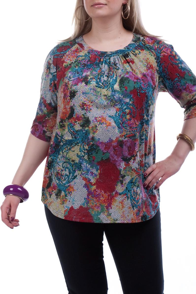 БлузкаБлузки<br>Удлиненная блузка с рукавами 3/4. Модель выполнена из плотного трикотажа. Отличный выбор для повседневного гардероба.  Цвет: мультицвет  Рост девушки-фотомодели 173 см.<br><br>Горловина: С- горловина<br>По материалу: Трикотаж<br>По рисунку: Абстракция,Цветные<br>По сезону: Весна,Осень<br>По силуэту: Прямые<br>По стилю: Повседневный стиль<br>Рукав: Рукав три четверти<br>Размер : 50,54<br>Материал: Трикотаж<br>Количество в наличии: 10