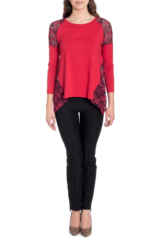 БлузкаБлузки<br>Чудесная блузка с фигурным подолом. Модель выполнена из приятного материала. Отличный выбор для любого случая.  В изделии использованы цвета: красный, черный  Рост девушки-фотомодели 170 см<br><br>Горловина: С- горловина<br>По материалу: Вискоза,Трикотаж<br>По рисунку: Цветные<br>По сезону: Весна,Зима,Лето,Осень,Всесезон<br>По силуэту: Свободные<br>По стилю: Нарядный стиль,Повседневный стиль<br>По элементам: С декором,С фигурным низом<br>Рукав: Длинный рукав<br>Размер : 44,46,48,50<br>Материал: Трикотаж + Гипюр<br>Количество в наличии: 4