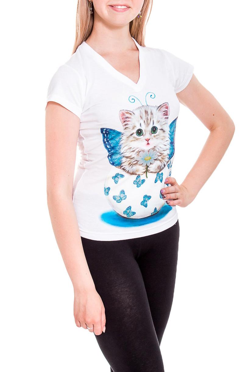 ФутболкаФутболки<br>Однотонная футболка с ярким принтом. Модель выполнена из мягкого трикотажа. Отличный выбор для повседневного гардероба.  В изделии использованы цвета: белый, голубой и др.  Рост девушки-фотомодели 170 см.<br><br>Горловина: V- горловина<br>По материалу: Трикотаж,Хлопок<br>По рисунку: Животные мотивы,С принтом,Цветные<br>По сезону: Весна,Зима,Лето,Осень,Всесезон<br>По силуэту: Приталенные<br>По стилю: Повседневный стиль<br>По форме: Классические<br>Рукав: Короткий рукав<br>Размер : 44,46,48<br>Материал: Трикотаж<br>Количество в наличии: 4
