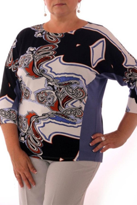 ДжемперКофты<br>Домашняя одежда, прежде всего, должна быть удобной, практичной и красивой. В джемпере Вы будете чувствовать себя комфортно, особенно, по вечерам после трудового дня.  Цвет: синий, белый, голубой<br><br>Горловина: Лодочка<br>По длине: Удлиненные<br>По материалу: Вискоза,Трикотаж<br>По рисунку: Абстракция,Цветные<br>По сезону: Весна,Осень<br>По силуэту: Полуприталенные<br>По элементам: С декором<br>Рукав: Рукав три четверти<br>Размер : 48,52,54<br>Материал: Трикотаж<br>Количество в наличии: 3