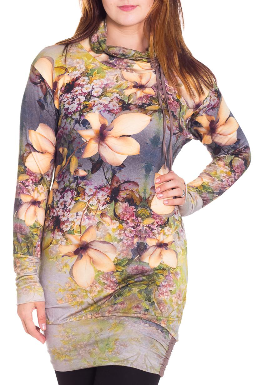 ТуникаТуники<br>Красивая блузка с длинными рукавами. Модель выполнена из приятного трикотажа. Отличный выбор для повседневного гардероба.  Цвет: бежевый, серый, розовый  Рост девушки-фотомодели 180 см.<br><br>Воротник: Хомут<br>По материалу: Вискоза,Трикотаж<br>По рисунку: Растительные мотивы,Цветные,Цветочные<br>По сезону: Весна,Осень<br>По силуэту: Приталенные<br>По стилю: Повседневный стиль<br>Рукав: Длинный рукав<br>Размер : 50,52,58<br>Материал: Трикотаж<br>Количество в наличии: 3