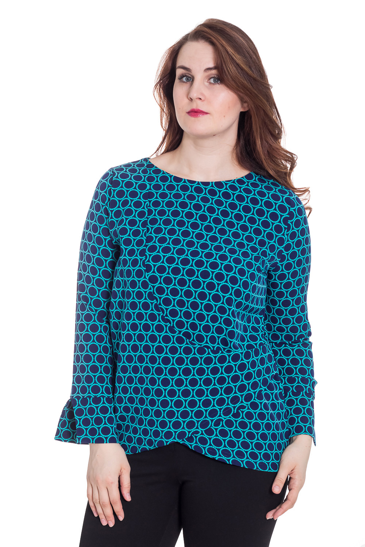 БлузкаБлузки<br>Цветная блузка с длинными рукавами. Модель выполнена из приятного трикотажа. Отличный выбор для повседневного гардероба.  Цвет: синий, голубой  Рост девушки-фотомодели 180 см<br><br>Горловина: С- горловина<br>По материалу: Вискоза,Тканевые<br>По образу: Город,Свидание<br>По рисунку: В горошек,Геометрия,С принтом,Цветные<br>По сезону: Весна,Зима,Лето,Осень,Всесезон<br>По силуэту: Прямые<br>По стилю: Повседневный стиль<br>Рукав: Длинный рукав<br>Размер : 46,48,50,52<br>Материал: Плательная ткань<br>Количество в наличии: 4