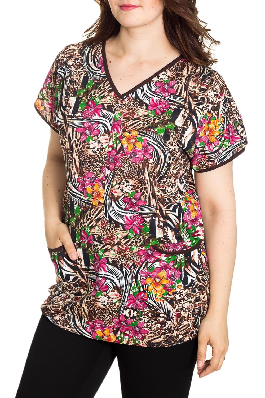 ДжемперТуники<br>Домашний джемпер с короткими рукавами Домашняя одежда, прежде всего, должна быть удобной, практичной и красивой. В джемпере Вы будете чувствовать себя комфортно, особенно, по вечерам после трудового дня.  Цвет: коричневый, мультицвет  Рост девушки-фотомодели 180 см.<br><br>Горловина: V- горловина<br>По длине: Удлиненные<br>По рисунку: Цветные,Цветочные,Леопард,С принтом<br>По сезону: Весна,Зима,Лето,Осень,Всесезон<br>По силуэту: Полуприталенные<br>По элементам: С карманами<br>Рукав: Короткий рукав<br>По материалу: Хлопок<br>Размер : 48,50,60,64,66<br>Материал: Хлопок<br>Количество в наличии: 5