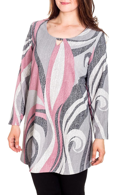 БлузкаБлузки<br>Удлиненная блузка с длинными рукавами. Модель выполнена из приятного трикотажа. Отличный выбор для повседневного гардероба.  Цвет: розовый, белый, серый  Рост девушки-фотомодели 180 см<br><br>Горловина: С- горловина<br>По материалу: Вискоза,Трикотаж<br>По рисунку: С принтом,Цветные<br>По сезону: Весна,Зима,Лето,Осень,Всесезон<br>По силуэту: Прямые<br>По стилю: Повседневный стиль<br>По элементам: С декором<br>Рукав: Длинный рукав<br>Размер : 62,64,66,68,72,76,78<br>Материал: Трикотаж<br>Количество в наличии: 8