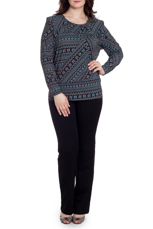 БлузкаБлузки<br>Универсальная блузка с длинными рукавами. Модель выполнена из мягкой вискозы. Отличный выбор для любого случая.  В изделии использованы цвета: коричневый, голубой  Рост девушки-фотомодели 180 см<br><br>Горловина: С- горловина<br>По материалу: Вискоза<br>По рисунку: С принтом,Цветные,Этнические<br>По сезону: Весна,Зима,Лето,Осень,Всесезон<br>По силуэту: Приталенные<br>По стилю: Повседневный стиль<br>Рукав: Длинный рукав<br>Размер : 62,64,66<br>Материал: Вискоза<br>Количество в наличии: 3
