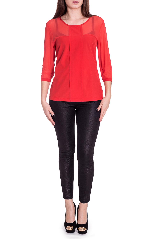 БлузкаБлузки<br>Яркая блузка с круглой горловиной и рукавами 3/4. Модель выполнена из приятного материала. Отличный выбор для любого случая.   В изделии использованы цвета: коралловый  Рост девушки-фотомодели 170 см.<br><br>Горловина: С- горловина<br>По материалу: Гипюр,Тканевые<br>По рисунку: Однотонные<br>По сезону: Весна,Зима,Лето,Осень,Всесезон<br>По силуэту: Полуприталенные<br>По стилю: Повседневный стиль<br>По элементам: С декором<br>Рукав: Рукав три четверти<br>Размер : 46,48,50,52,54,56<br>Материал: Блузочная ткань + Гипюровая сетка<br>Количество в наличии: 6