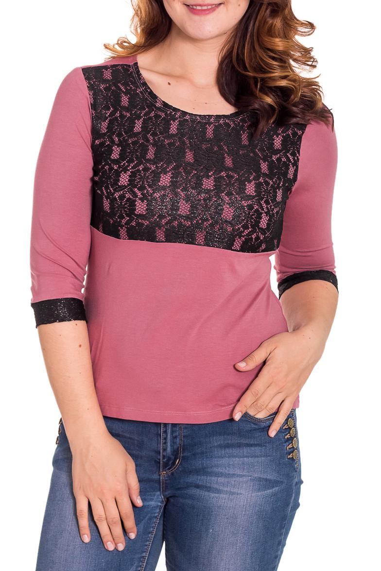 БлузкаБлузки<br>Прекрасная блузка со вставками из гипюра. Модель выполнена из мягкой вискозы. Отличный выбор для любого случая.  Цвет: розовый, черный  Рост девушки-фотомодели 180 см.<br><br>Горловина: С- горловина<br>По материалу: Вискоза,Трикотаж<br>По рисунку: Цветные<br>По сезону: Весна,Всесезон,Зима,Лето,Осень<br>По силуэту: Приталенные<br>По стилю: Повседневный стиль<br>По элементам: С декором<br>Рукав: Рукав три четверти<br>Размер : 46<br>Материал: Вискоза<br>Количество в наличии: 1