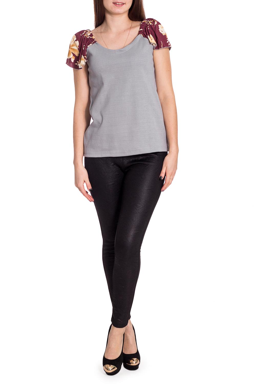 БлузкаБлузки<br>Чудесная блузка с короткими рукавами. Модель выполнена из приятного материала. Отличный выбор для повседневного гардероба.  В изделии использованы цвета: серый, бордовый и др.  Рост девушки-фотомодели 173 см.<br><br>Горловина: С- горловина<br>По материалу: Трикотаж,Хлопок<br>По рисунку: Растительные мотивы,С принтом,Цветные,Цветочные<br>По сезону: Весна,Зима,Лето,Осень,Всесезон<br>По силуэту: Полуприталенные<br>По стилю: Повседневный стиль,Летний стиль<br>Рукав: Короткий рукав<br>Размер : 44-46,52,56,60-62,64-66,68-70<br>Материал: Трикотаж<br>Количество в наличии: 8