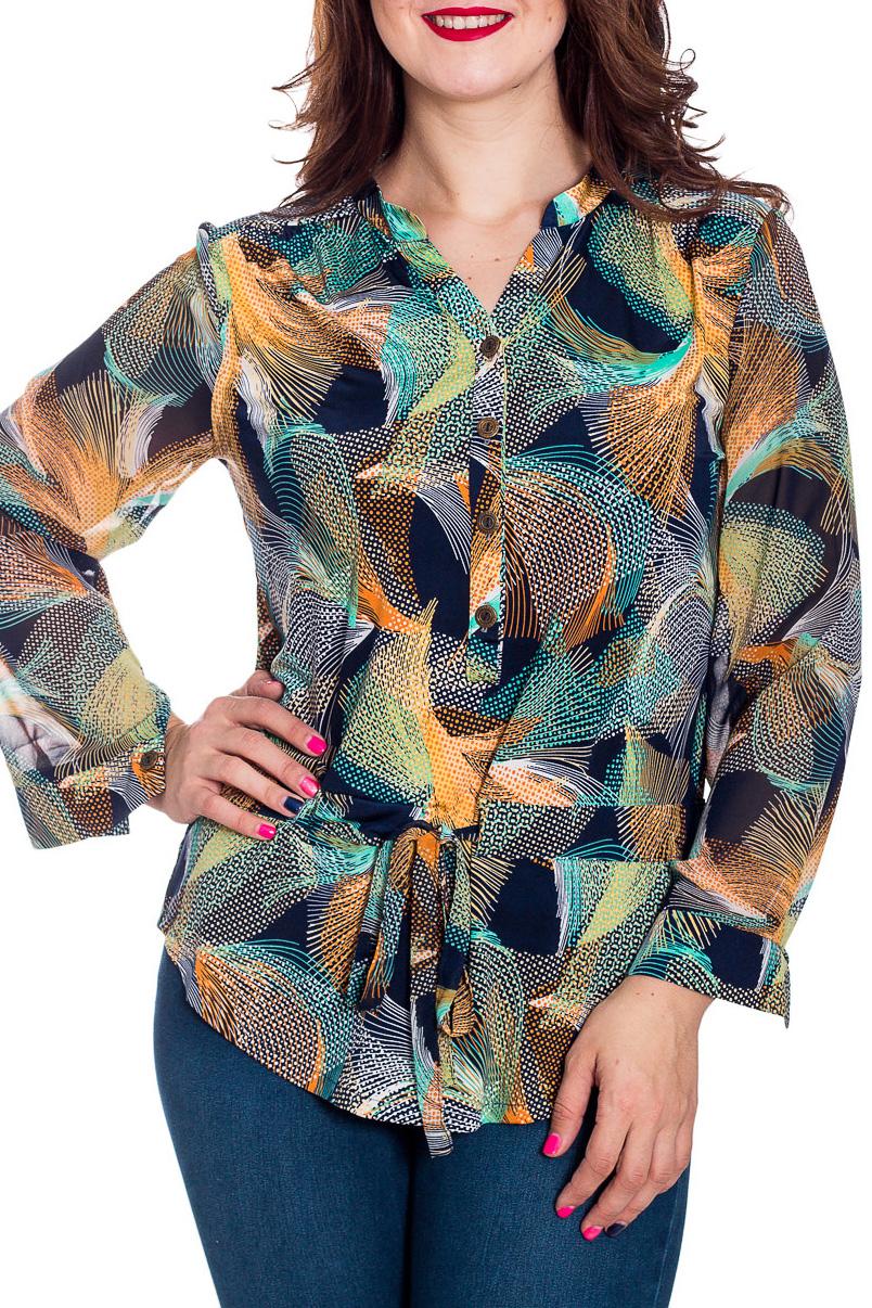 БлузкаБлузки<br>Цветная блузка полуприталенного силуэта с длинными рукавами. Модель выполнена из приятного материала. Отличный выбор для повседневного гардероба.  В изделии использованы цвета: синий, желтый, бирюзовый и др.  Рост девушки-фотомодели 180 см.<br><br>Горловина: Фигурная горловина<br>По материалу: Трикотаж,Шифон<br>По рисунку: С принтом,Цветные<br>По сезону: Весна,Зима,Лето,Осень,Всесезон<br>По силуэту: Полуприталенные<br>По стилю: Повседневный стиль<br>По элементам: С манжетами<br>Рукав: Длинный рукав<br>Размер : 48<br>Материал: Холодное масло + Шифон<br>Количество в наличии: 1