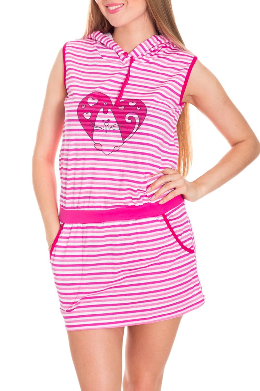 ТуникаТуники<br>Хлопковая туника без рукавов. Домашняя одежда, прежде всего, должна быть красивой, удобной и практичной. В тунике Вы будете чувствовать себя комфортно, особенно, по вечерам после трудового дня.  Ростовка изделия 158 см.  Цвет: розовый, белый  Рост девушки-фотомодели 170 см.<br><br>По длине: Удлиненные<br>По рисунку: В полоску,Цветные,С принтом<br>По сезону: Весна,Зима,Лето,Осень,Всесезон<br>По силуэту: Полуприталенные<br>По элементам: С карманами<br>Рукав: Без рукавов<br>По материалу: Хлопок<br>Размер : 42,44<br>Материал: Хлопок<br>Количество в наличии: 2