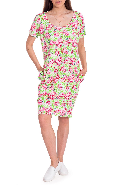 ТуникаПлатья<br>Летнее платье с цветочным принтом. Модель выполнена из хлопкового материла. Отличный выбор для повседневного гардероба.В изделии использованы цвета: белый, салатовый, розовый и др.Рост девушки-фотомодели 170 см.<br><br>Горловина: С- горловина<br>Рукав: Короткий рукав<br>Длина: До колена<br>Материал: Трикотаж,Хлопок<br>Рисунок: Растительные мотивы,С принтом,Цветные,Цветочные<br>Сезон: Лето<br>Силуэт: Полуприталенные<br>Стиль: Летний стиль,Повседневный стиль<br>Элементы: С карманами<br>Размер : 46,48,50,56,58<br>Материал: Трикотаж<br>Количество в наличии: 5