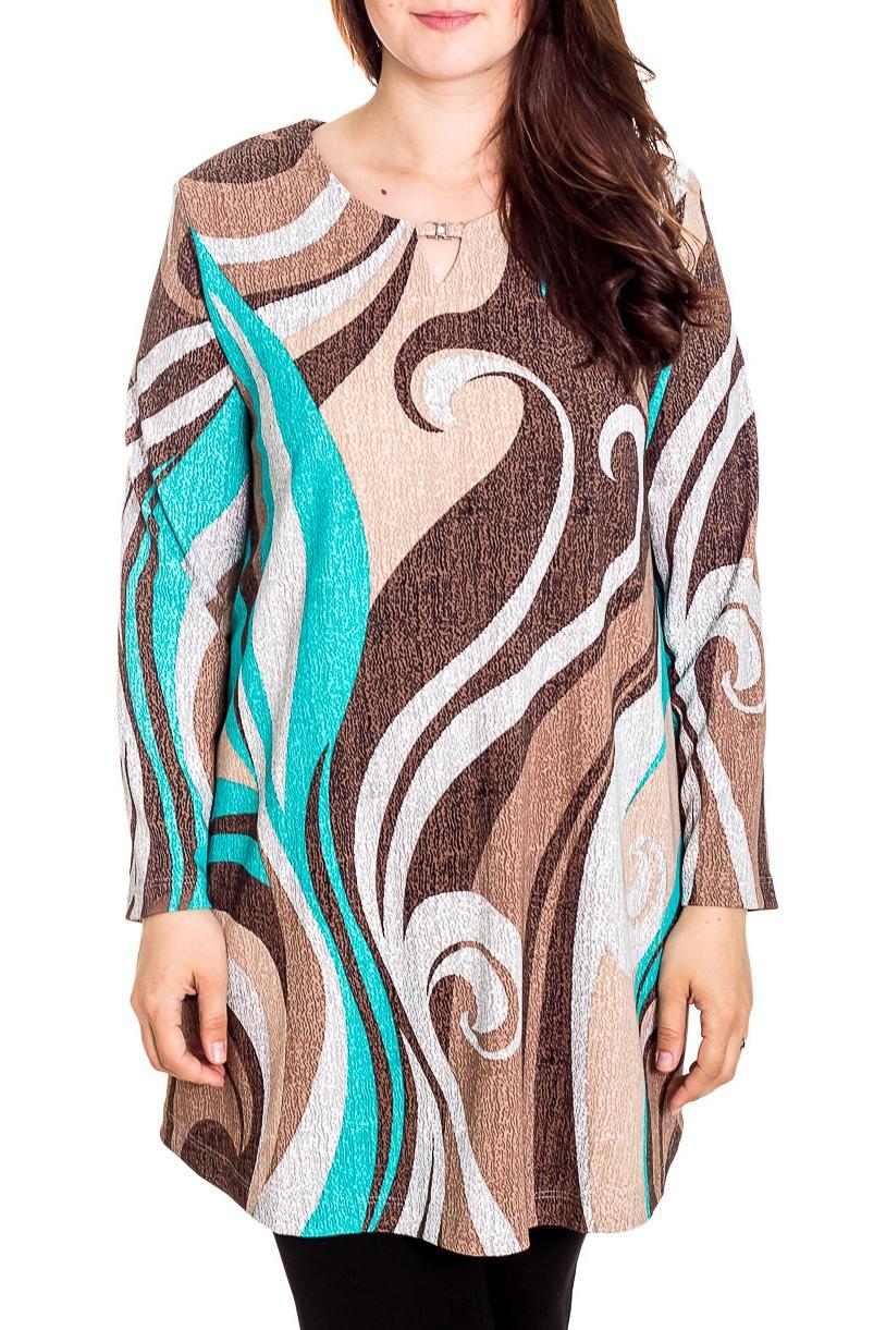 БлузкаБлузки<br>Удлиненная блузка с длинными рукавами. Модель выполнена из приятного трикотажа. Отличный выбор для повседневного гардероба.  Цвет: бежевый, коричневый, голубой  Рост девушки-фотомодели 180 см<br><br>Горловина: С- горловина<br>По материалу: Вискоза,Трикотаж<br>По рисунку: С принтом,Цветные<br>По сезону: Весна,Осень,Зима<br>По силуэту: Прямые<br>По стилю: Повседневный стиль<br>Рукав: Длинный рукав<br>Размер : 60,62,64,66,68,72,74,76,78<br>Материал: Трикотаж<br>Количество в наличии: 10