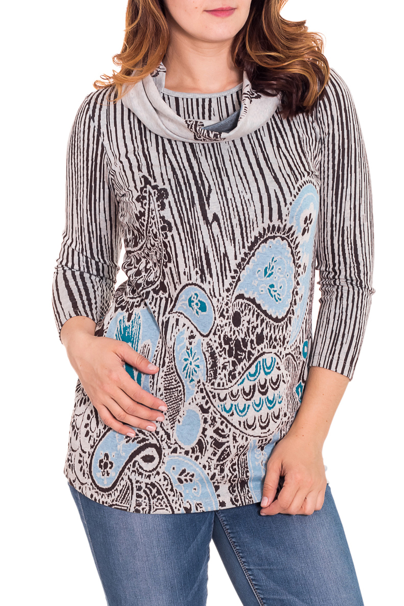 ТуникаТуники<br>Замечательная туника с рукавами 3/4 и декоративным шарфиком. Модель выполнена из приятного трикотажа. Отличный выбор для повседневного гардероба.  Цвет: серый, коричневый, голубой  Рост девушки-фотомодели 180 см.<br><br>Горловина: С- горловина<br>По материалу: Вискоза,Трикотаж<br>По образу: Город,Свидание<br>По рисунку: Абстракция,Цветные<br>По сезону: Весна,Осень<br>По силуэту: Полуприталенные<br>По стилю: Повседневный стиль<br>По элементам: С декором<br>Рукав: Рукав три четверти<br>Размер : 44<br>Материал: Трикотаж<br>Количество в наличии: 2