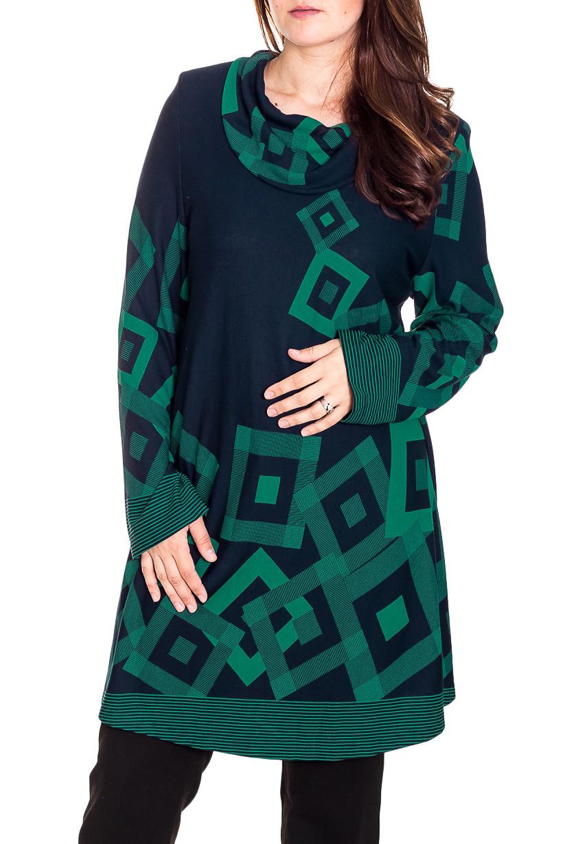 БлузкаТуники<br>Красивая блузка с длинными рукавами и воротником хомут. Модель выполнена из приятного трикотажа. Отличный выбор для повседневного гардероба.  Цвет: синий, зеленый  Рост девушки-фотомодели 180 см.<br><br>Воротник: Хомут<br>По материалу: Вискоза,Трикотаж<br>По образу: Город,Свидание<br>По рисунку: С принтом,Цветные<br>По силуэту: Полуприталенные<br>По стилю: Повседневный стиль<br>Рукав: Длинный рукав<br>По сезону: Осень,Весна<br>Размер : 70<br>Материал: Трикотаж<br>Количество в наличии: 1