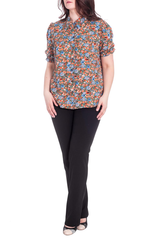 БлузкаБлузки<br>Цветная блузка с рубашечным воротником и короткими рукавами. Модель выполнена из мягкой вискозы. Отличный выбор для повседневного гардероба.  В изделии использованы цвета: зеленый, оранжевый, голубой и др.  Рост девушки-фотомодели 180 см<br><br>Воротник: Рубашечный<br>Застежка: С пуговицами<br>По материалу: Вискоза<br>По рисунку: Растительные мотивы,С принтом,Цветные,Цветочные<br>По сезону: Весна,Зима,Лето,Осень,Всесезон<br>По силуэту: Приталенные<br>По стилю: Повседневный стиль<br>Рукав: Короткий рукав<br>Размер : 60,62,64,66<br>Материал: Вискоза<br>Количество в наличии: 4