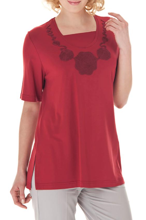 БлузкаБлузки<br>Однотонная блузка с круглой горловиной, короткими рукавами и декоративным элементом у горловины. Модель выполнена из приятного материала. Отличный выбор для любого случая.  Цвет: красный  Ростовка изделия 170 см.<br><br>Горловина: С- горловина<br>По материалу: Вискоза,Трикотаж<br>По рисунку: Однотонные<br>По сезону: Весна,Зима,Лето,Осень,Всесезон<br>По силуэту: Свободные<br>По стилю: Повседневный стиль,Летний стиль<br>По элементам: С декором<br>Рукав: До локтя,Короткий рукав<br>Размер : 52-54,60-62<br>Материал: Вискоза<br>Количество в наличии: 2