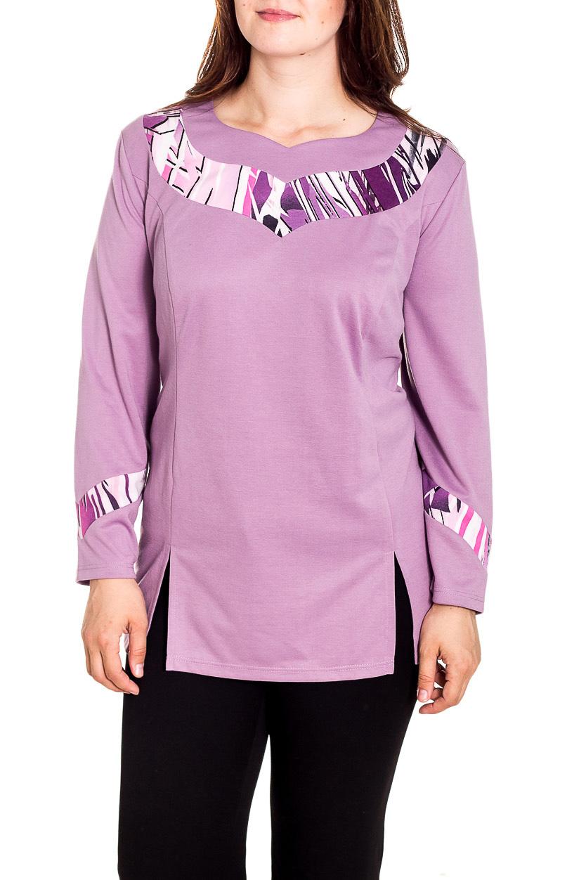 БлузкаБлузки<br>Однотонная блузка с длинными рукавами и фигурной горловиной. Модель выполнена из мягкой вискозы. Отличный выбор для повседневного гардероба.  Цвет: сиреневый  Рост девушки-фотомодели 180 см<br><br>По материалу: Вискоза,Трикотаж<br>По рисунку: Однотонные<br>По сезону: Весна,Зима,Лето,Осень,Всесезон<br>По силуэту: Полуприталенные<br>По стилю: Повседневный стиль<br>Рукав: Длинный рукав<br>Горловина: Фигурная горловина<br>Размер : 66,68,70<br>Материал: Трикотаж<br>Количество в наличии: 4