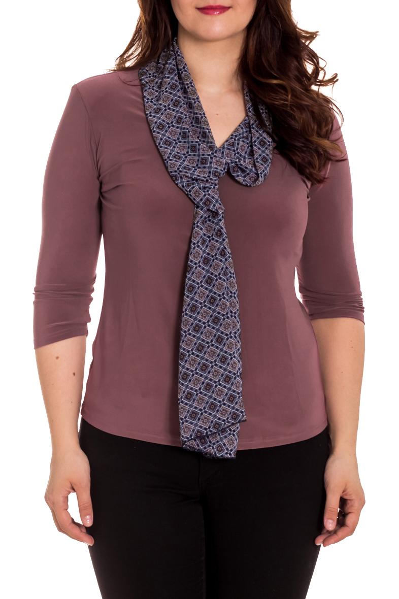 БлузкаБлузки<br>Прекрасная женская блузка с декоративным шарфиком. Модель выполнена из приятного трикотажа. Отличный выбор для любого случая.  Цвет: какао, синий  Рост девушки-фотомодели 180 см<br><br>Воротник: Фантазийный<br>По материалу: Трикотаж,Шифон<br>По рисунку: Однотонные<br>По сезону: Весна,Зима,Лето,Осень,Всесезон<br>По силуэту: Приталенные<br>По стилю: Повседневный стиль<br>Рукав: Рукав три четверти<br>Размер : 48,50,52,54,56<br>Материал: Холодное масло + Шифон<br>Количество в наличии: 10