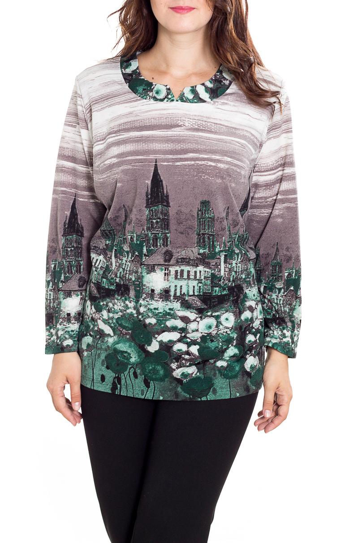 БлузкаТуники<br>Красивая блузка с фигурной горловиной и длинными рукавами. Модель выполнена из приятного трикотажа. Отличный выбор для повседневного гардероба.  В изделии использованы цвета: серый, зеленый и др.  Рост девушки-фотомодели 180 см.<br><br>Горловина: Фигурная горловина<br>По материалу: Трикотаж,Шерсть<br>По образу: Город,Свидание<br>По рисунку: С принтом,Цветные<br>По сезону: Зима,Осень,Весна<br>По силуэту: Полуприталенные<br>По стилю: Повседневный стиль<br>Рукав: Длинный рукав<br>Размер : 62,64,66,70,72,74,76,78<br>Материал: Трикотаж<br>Количество в наличии: 8