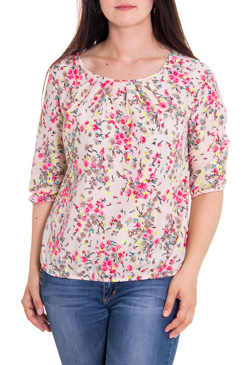 БлузкаБлузки<br>Женская блузка с круглой горловиной и рукавами до локтя. Модель выполнена из приятного материала. Отличный выбор для повседневного гардероба.  Цвет: бежевый, розовый, желтый  За счет свободного кроя и эластичного материала изделие можно носить во время беременности.  Рост девушки-фотомодели 180 см.<br><br>Горловина: С- горловина<br>По материалу: Вискоза,Тканевые<br>По рисунку: Растительные мотивы,Цветные,Цветочные,С принтом<br>По сезону: Весна,Всесезон,Зима,Лето,Осень<br>По силуэту: Полуприталенные<br>Рукав: Рукав три четверти<br>По стилю: Повседневный стиль,Романтический стиль<br>По элементам: Со складками<br>Размер : 46<br>Материал: Вискоза<br>Количество в наличии: 1