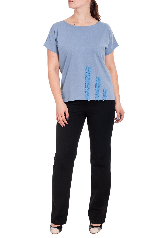 БлузкаБлузки<br>Универсальная блузка с декоративным элементом. Модель выполнена из приятного материала. Отличный выбор для повседневного гардероба.  В изделии использованы цвета: голубой  Рост девушки-фотомодели 180 см.<br><br>Горловина: С- горловина<br>По материалу: Трикотаж,Хлопок<br>По рисунку: Однотонные<br>По сезону: Весна,Зима,Лето,Осень,Всесезон<br>По силуэту: Прямые<br>По стилю: Повседневный стиль,Летний стиль<br>По элементам: С декором<br>Рукав: Короткий рукав<br>Размер : 52<br>Материал: Трикотаж<br>Количество в наличии: 1